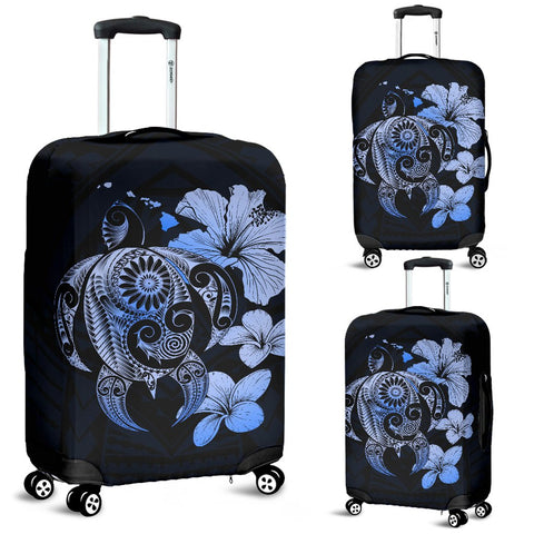 Hibiscus Plumeria Mix Polynesian Blue Turtle Luggage Covers