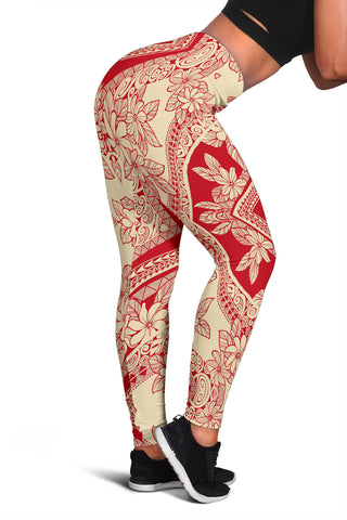 Polynesian Plumeria Mix Hawaii Women's Leggings AH J2