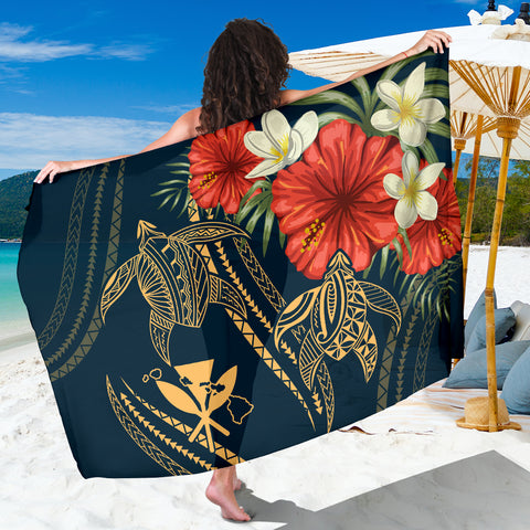 Image of Hawaii Polynesian Turtle Hibiscus Sarong
