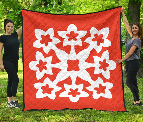 Hawaiian Premium Quilt Royal Pattern - Orange - A1 Style