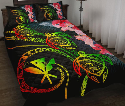 Hawaii Turtle Polynesian Tropical Quilt Bed Set - Cora Style Reggae