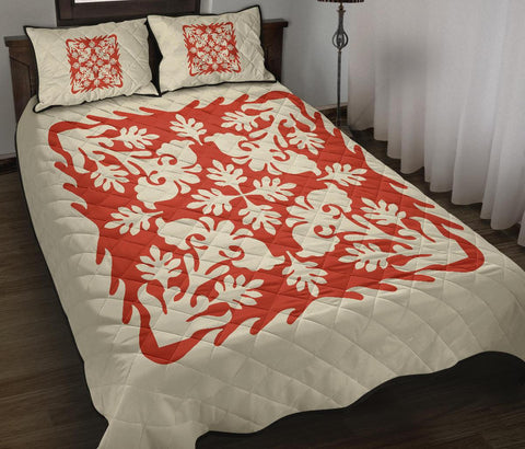 Hawaiian Quilt Bed Set Royal Pattern - Red