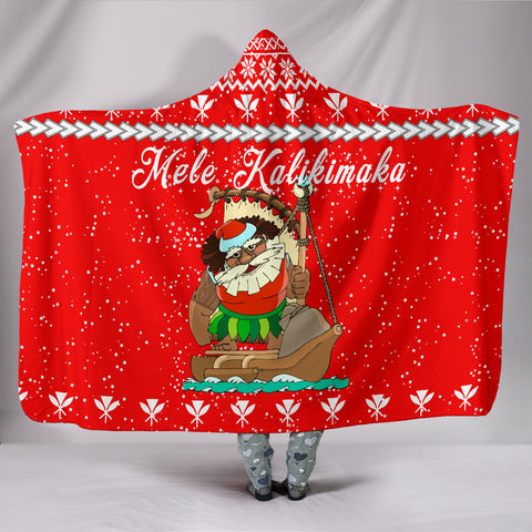 Image of Hawaiian Santa Claus Mele Kalikimaka Hooded Blanket - Red - Farah Style - AH - J2