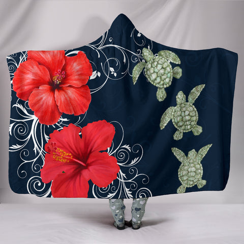 Hawaii Deep Blue Hibiscus Turtle Hooded Blanket