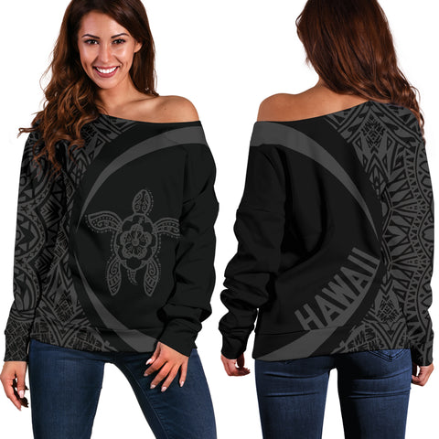 Hawaii Turtle Polynesian Women's Off Shoulder Sweater - Circle Style - Black