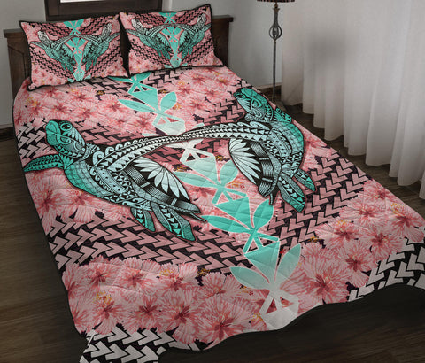 Hawaii Turtle Kanaka Hibiscus Tropical Polynesian Quilt Bed Set - Sweet Style - AH