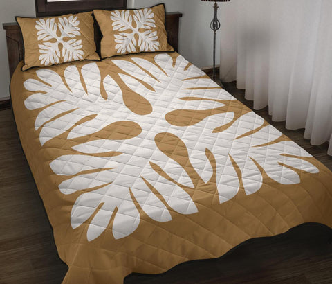 Hawaiian Quilt Bed Set Royal Pattern - Gold - P1 Style - AH - J3