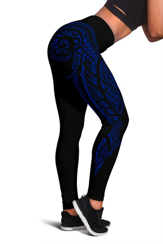 Image of Hawaii State Tattoo Swirly Blue Polynesian Women's Leggings