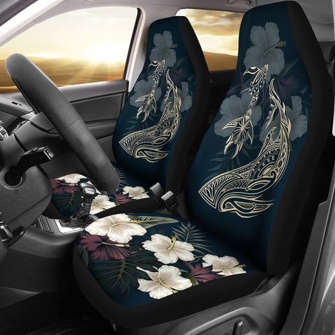 Hawaii Tropical Hibiscus Turtle Shark Aumakua Car Seat Covers - Lucas Style - Blue - AH - J6 - Alohawaii