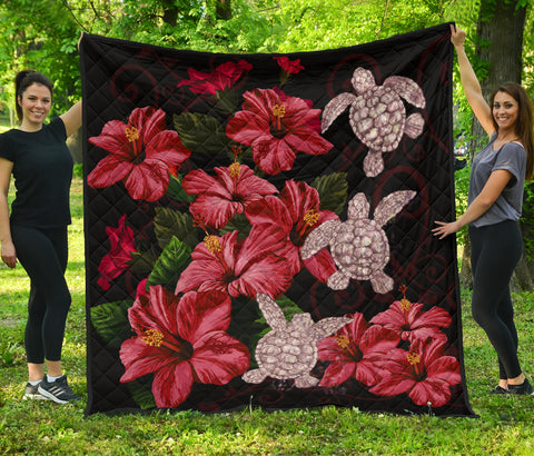 Image of Hawaii Red Hibiscus Turtle Premium Quilt - AH - Ray Style - J5 - Alohawaii