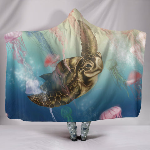 Hawaii Turtle And Jellyfish In Deep Sea Moana Hooded Blanket