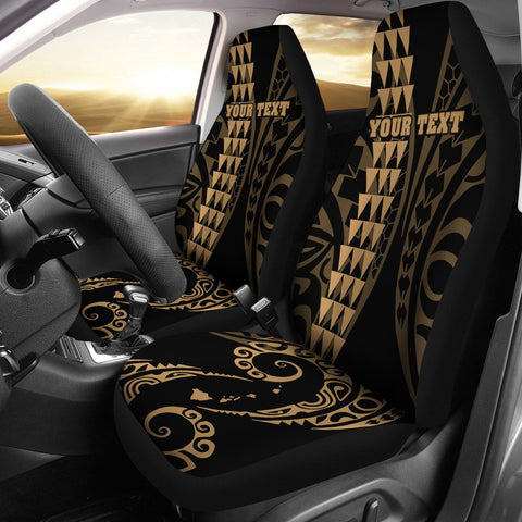 Personalized Hawaii Car Seat Covers Kakau Large Polynesian Gold
