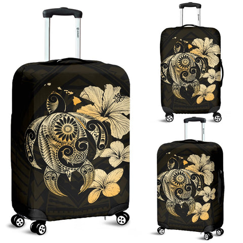 Hibiscus Plumeria Mix Polynesian Gold Turtle Luggage Covers