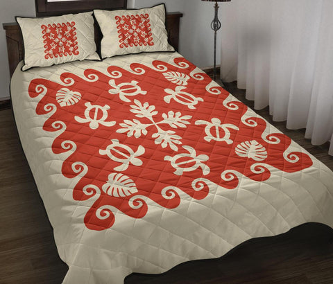 Hawaiian Quilt Bed Set Turtle Pattern - Red -White