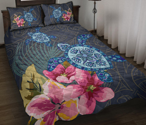 Hawaii Turtle Hibiscus Quilt Bed Set - LH Style - AH - J3