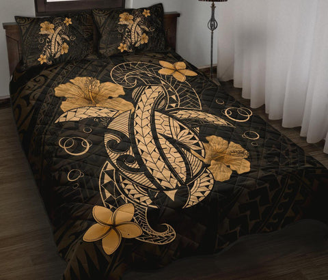 Hawaii Turtle Flower Polynesian Quilt Bed Set - Gold - AH J4 - Alohawaii