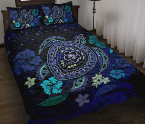 Image of Hawaiian Blue Ocean Honu And Flowers Quilt Bed Set - AH J0 - Alohawaii