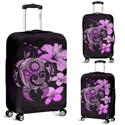 Hibiscus Plumeria Mix Polynesian Pink Turtle Luggage Covers