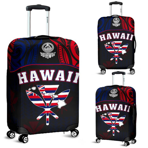 Hawaiian Kanaka Luggage Covers Flag Nation Black Demodern
