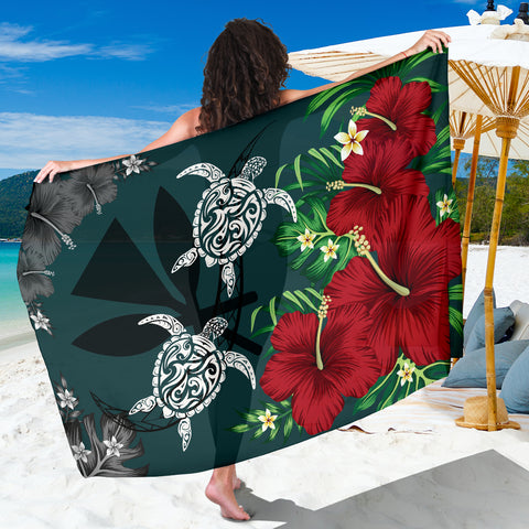 Image of Hawaii Map Turtle Hibiscus Plumeria Polynesian - Sarong AH J2