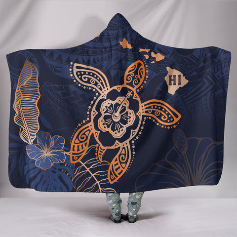 Hawaii Kakau Polynesian Turtle Map Hooded Blanket - Indigo - AH - J6