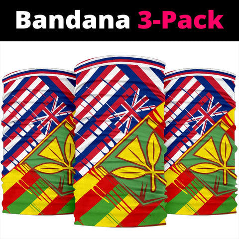 Hawaii Two Flag Bandana 3-Pack - White -  AH - J4 - Alohawaii