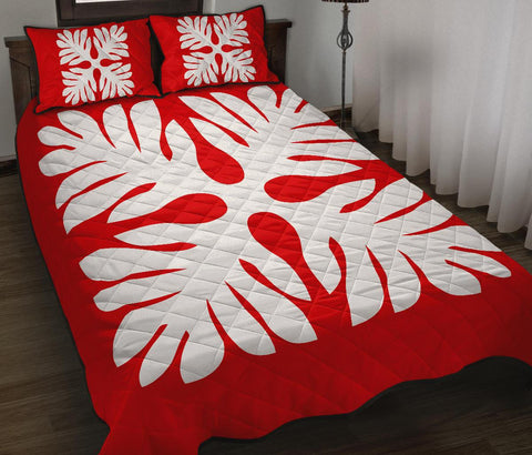 Hawaiian Quilt Bed Set Royal Pattern - Red - P1 Style - AH - J3