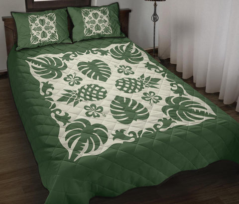 Image of Hawaiian Quilt Bed Set Coconut Tree Pattern - Green