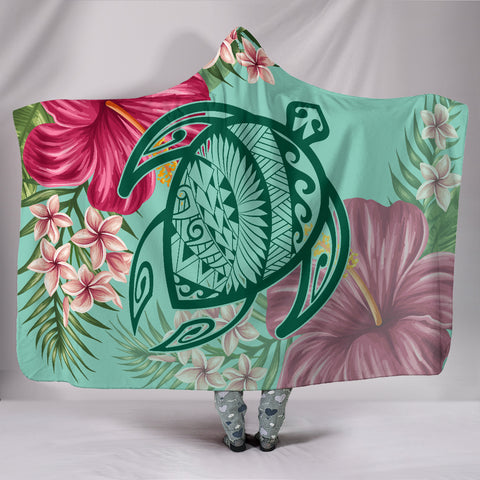 Hawaii Turtle Hibiscus Plumeria Hooded Blanket - Hug Style