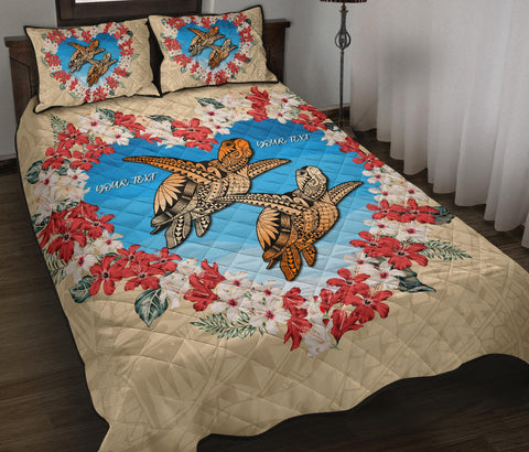 Image of Hawaii Turtle Valentines Quilt Bed Set