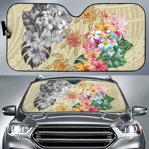 Hawaii Polynesian Flowers Swimming Turtles Car Sun Shade - AH - J5 - Alohawaii