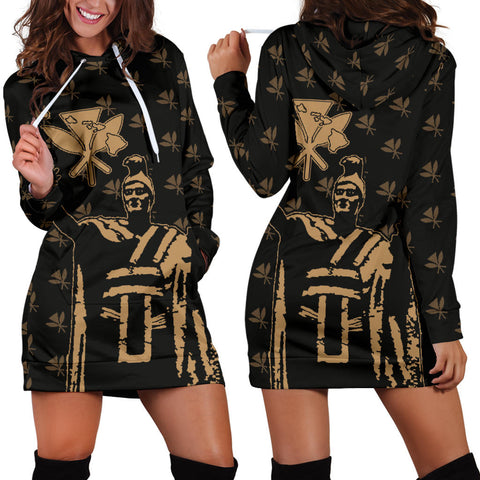 Hawaii King Kanaka Maoli Golden Women's Hoodie Dress