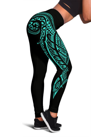 Hawaii State Tattoo Swirly Turquoise Polynesian Women's Leggings
