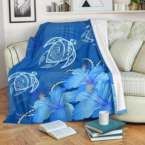 Image of Hawaii Blue Hibiscus Turtle Polynesian Premium Blanket