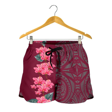 Image of Hawaii Hibiscus Flower Polynesian Women's Shorts - Curtis Style - Pink - AH - J2 - Alohawaii