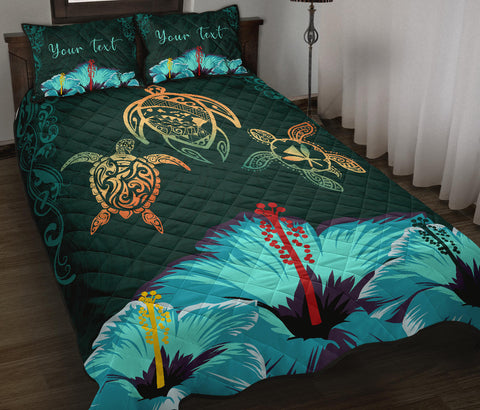 Personalized - Hawaii Map Turtle Hibiscus Polynesian Luxury Quilt Bed Set - Honu Ohana - AH - J6 - Alohawaii