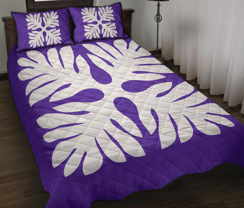 Hawaiian Quilt Bed Set Royal Pattern - Purple - P1 Style - AH - J3
