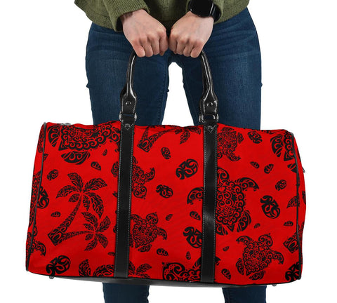 Polynesian Turtle Palm And Sea Pebbles Red Hawaii Travel Bag