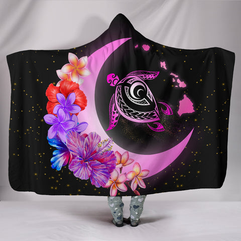Hawaii Map Moon Star Turtle Plumeria Hibiscus Hooded Blanket