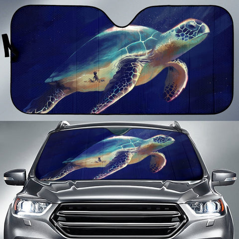 Memory Of A Day By The Sea And A Sea Turtle Car Sun Shade - AH - J5 - Alohawaii