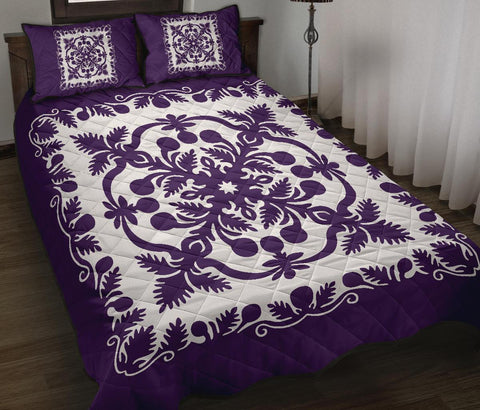 Image of Hawaii Quilt Bed Set Royal Pattern - Purple And White - AH - J6 - Alohawaii