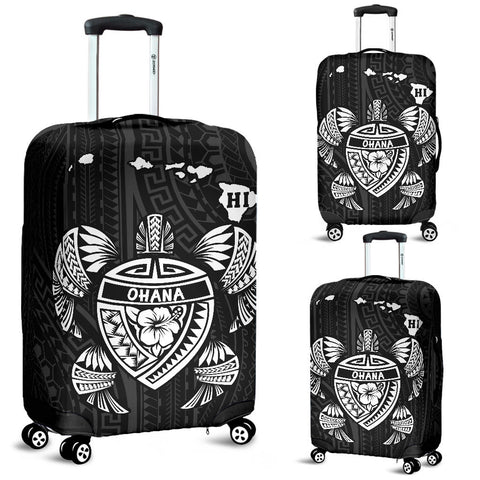 Hawaii Kakau Polynesian Turtle Map Luggage Covers - White - AH - J6 - Alohawaii