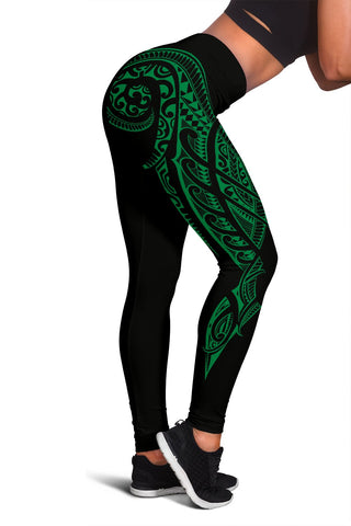 Hawaii State Tattoo Swirly Green Polynesian Women's Leggings