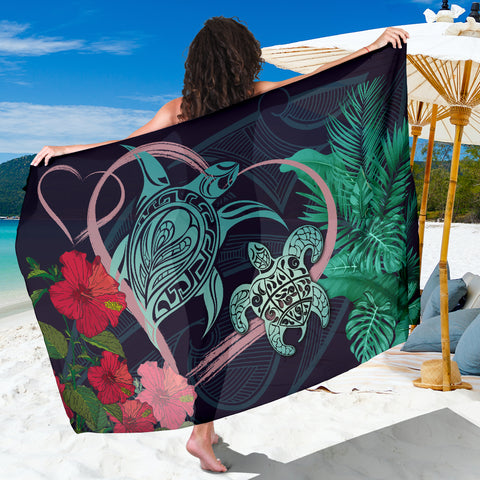 Image of Hawaii Turtle Hibiscus Valentine Sarong