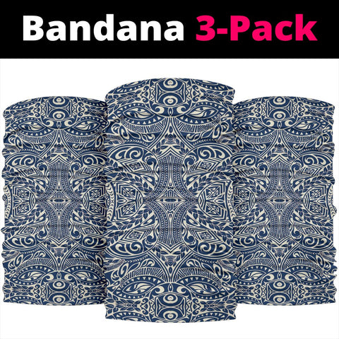 Polynesian Culture Blue White Bandana 3-Pack - AH - J1