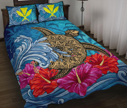 Hawaii Sea Turtle Hibiscus Coconut Tree Quilt Bed Set - AH - J4 - Alohawaii