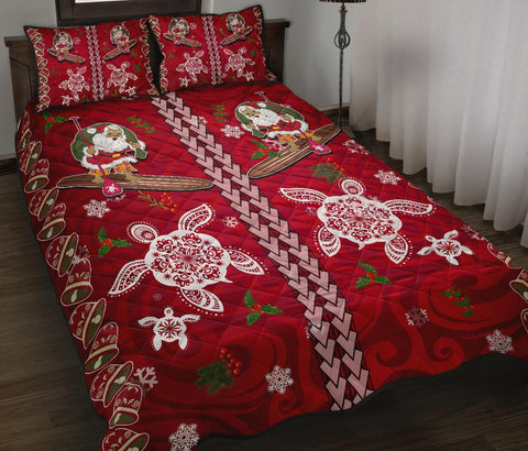Hawaii Turtle Santa Claus Pattern Christmas Quilt Bed Set - San Style - AH