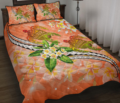 Image of Hawaii Turtle Plumeria Polynesian Quilt Bed Set - Mira Style - AH - J2