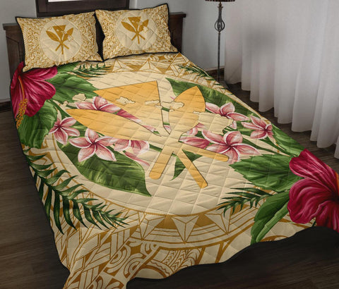 Alohawaii Quilt Bed Set - Kanaka Maoli Quilt Bed Set Strong Pattern Hibiscus Plumeria