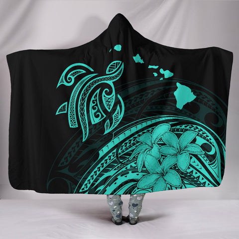 Hawaii Map Plumeria Polynesian Turquoise Turtle Hooded Blanket - AH - J1 - Alohawaii